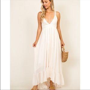 Blush striped maxi dress boho small high low